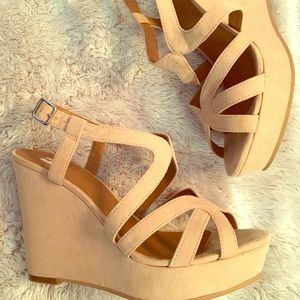 Nude Suede Wedges. ONLY WORN ONCE